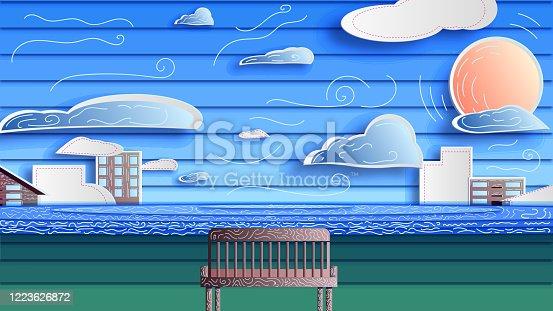 istock A modern multi-layer decorative landscape. Paper illustration - scenery. 1223626872