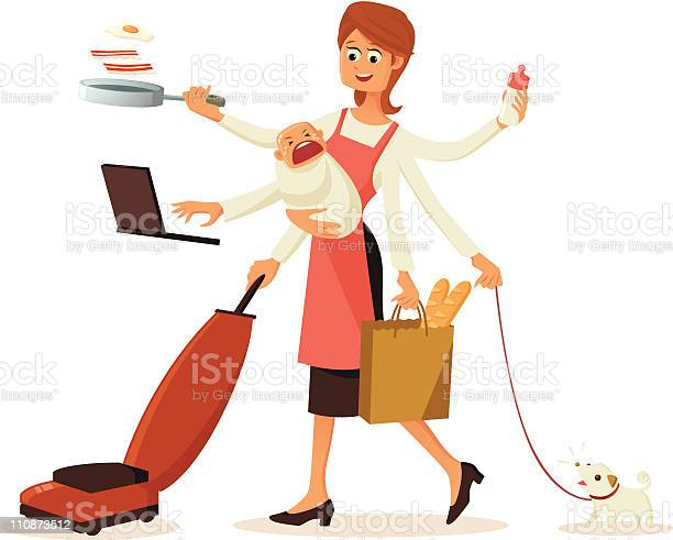 Modern multitasking housewife with multiple hands vector id110873512?b=1&k=6&m=110873512&s=612x612&h=p36pch6upzbcwq2gtfz03jfclhgis kjqpmv0inyftm=