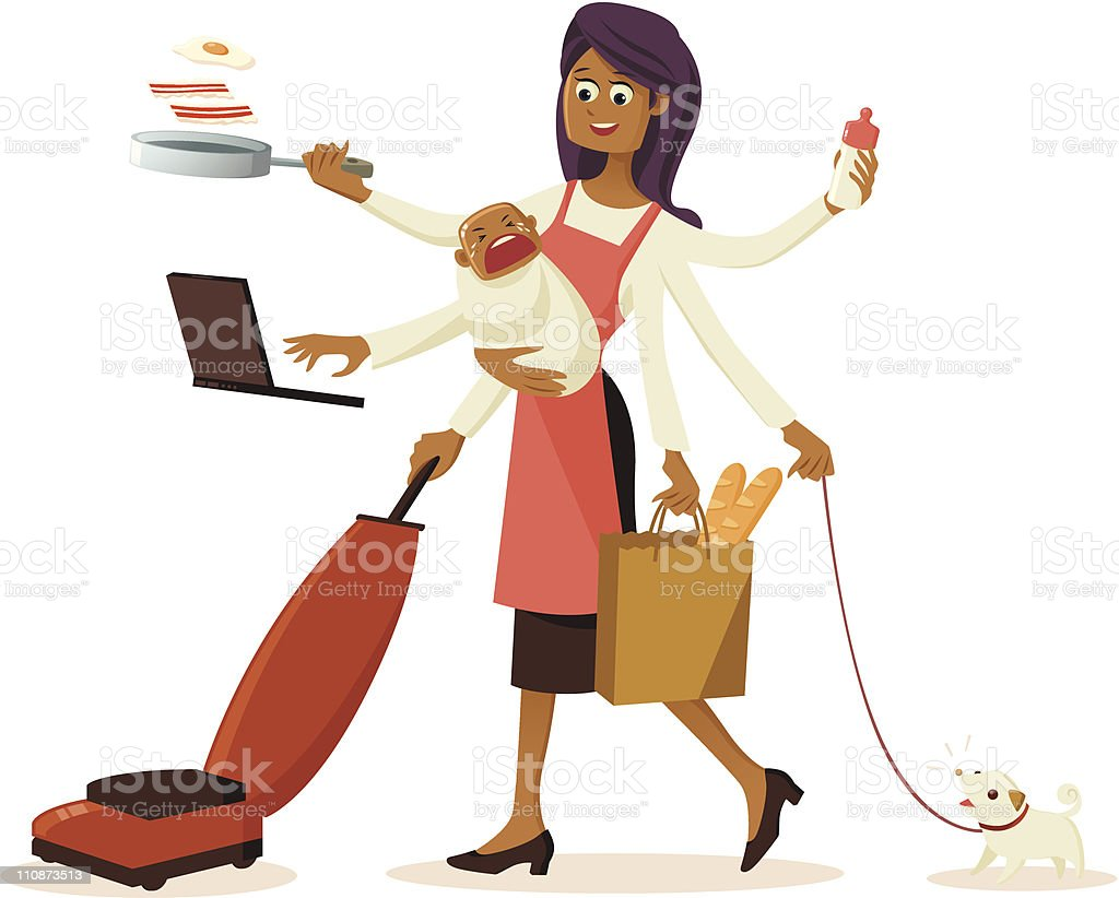 Modern multi-tasking housewife with multiple hands vector art illustration