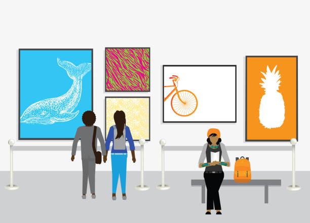 壁や多様な人々 にアートワークと近代美術館 - 美術館点のイラスト素材/クリップアート素材/マンガ素材/アイコン素材