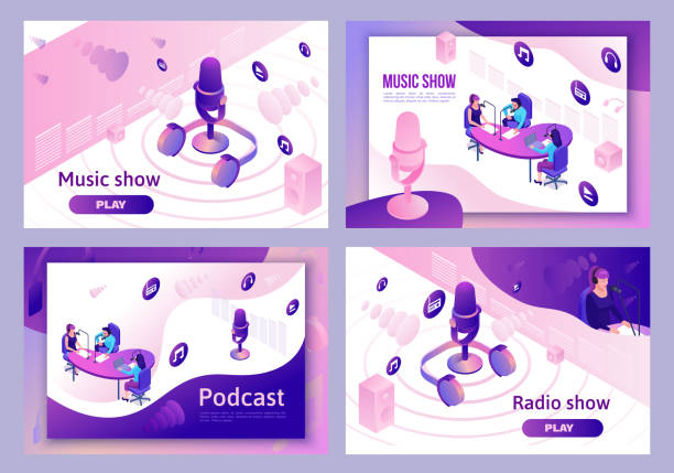modern music radio show or audio blog concept, podcast isometric 3d illustration set, vector landing page template with people, microphone, sound studio interior - podcast stock illustrations