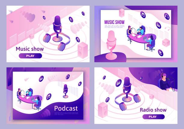 ilustrações, clipart, desenhos animados e ícones de programa de rádio moderno da música ou conceito audio do blogue, jogo 3d isométrico da ilustração do podcast, molde da página de aterragem do vetor com povos, microfone, interior sadio do estúdio - podcast