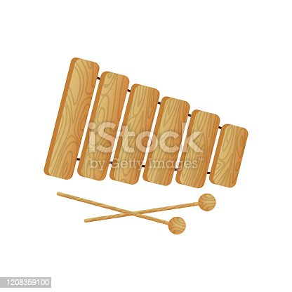 istock Modern musical instrument wood xylophone with ball sticks 1208359100
