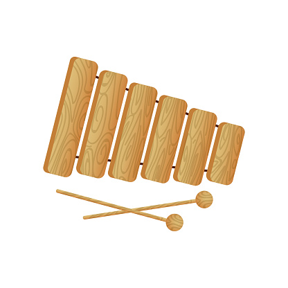 Modern musical instrument wood xylophone with ball sticks