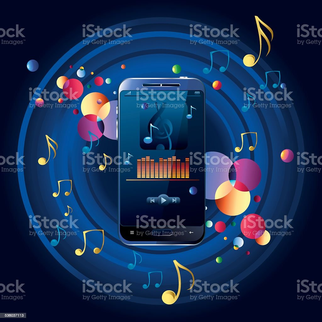 Modern musical smart phone vector art illustration