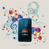 Generic modern smartphone on trendy musical background, layered vector artwork