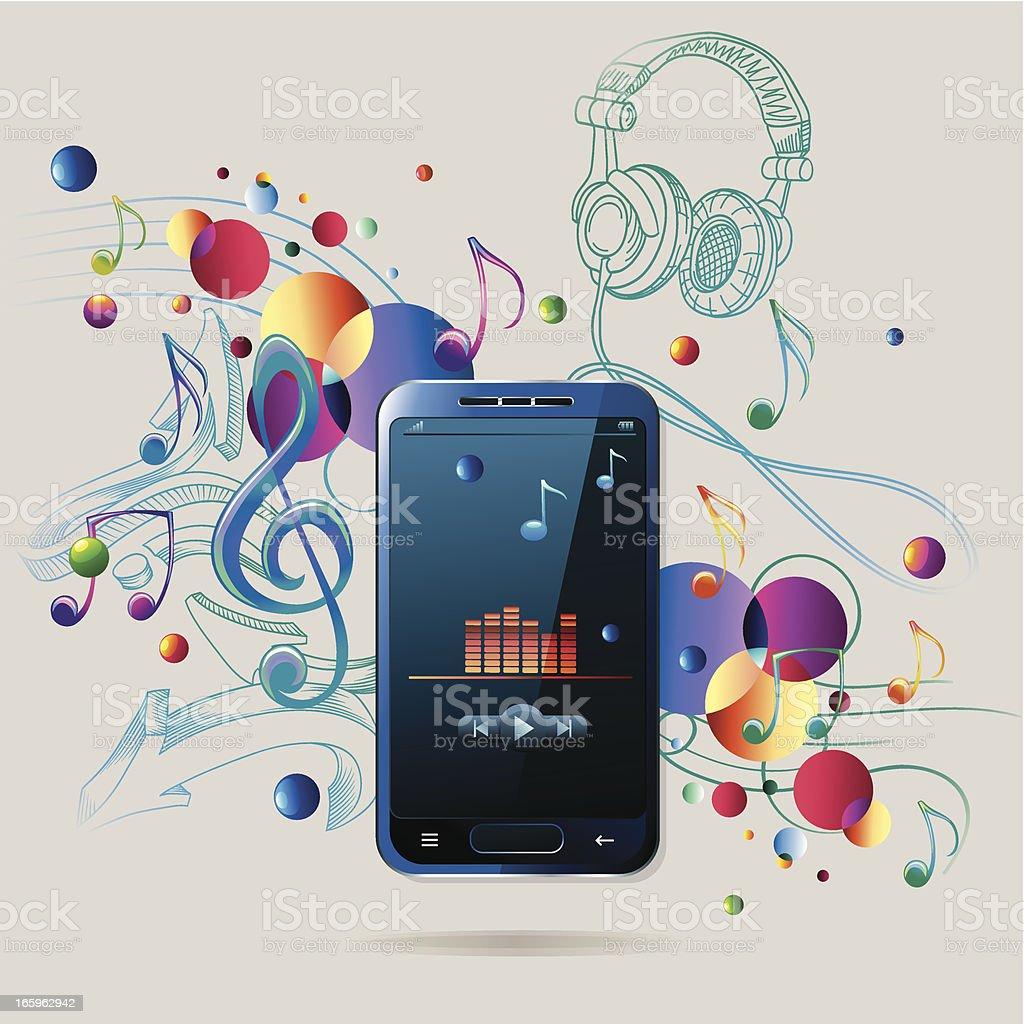 Modern musical smartphone vector art illustration