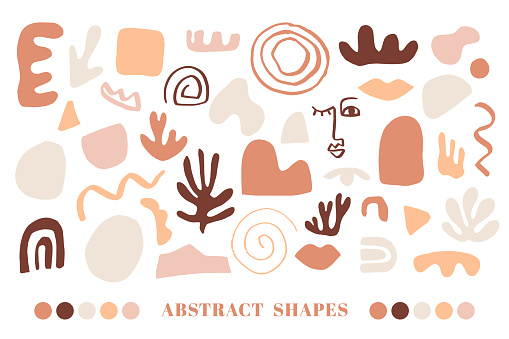 Modern Natural Abstractions elements set. Collage with organic shapes. Earthy colors.
