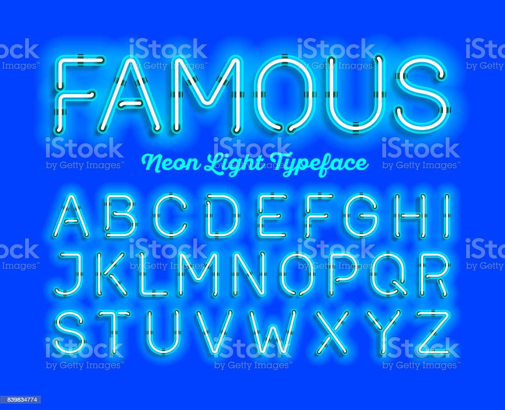 Modern neon light font vector art illustration