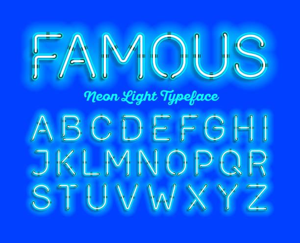 moderne neon light schriftart - led stock-grafiken, -clipart, -cartoons und -symbole