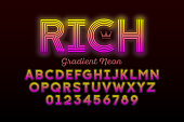Modern Neon style font design, alphabet letters and numbers vector illustration