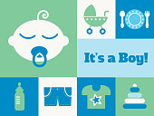 istock Modern New Baby Boy greeting card - v2 1308874895