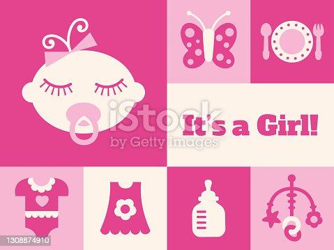 istock Modern New Baby Girl greeting card - v3 1308874910