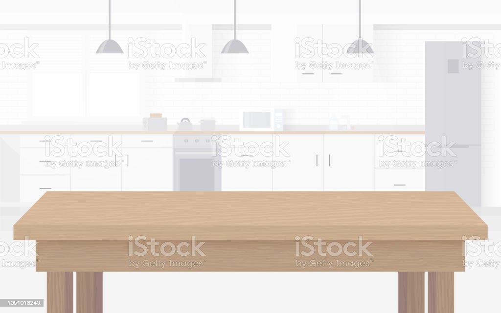 Modern ny ljus interiör kök med vita möbler. - Royaltyfri Bildbakgrund vektorgrafik