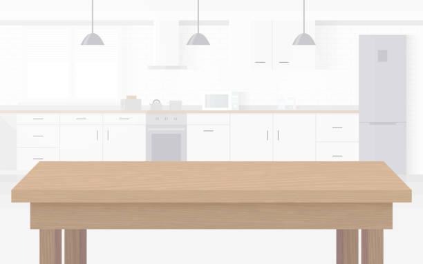 bildbanksillustrationer, clip art samt tecknat material och ikoner med modern ny ljus interiör kök med vita möbler. - kitchen