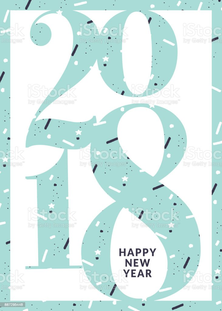 modern new year 2018 greeting card design royalty free modern new year 2018 greeting card
