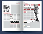 modern newspaper template, man silhouette made with letters