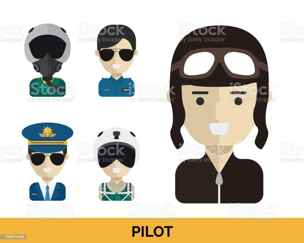 Modern Occupation Pilot Avatar Set Illustration In Isolated White Background