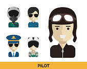 Modern Occupation Pilot Avatar Set Illustration In Isolated White Background
