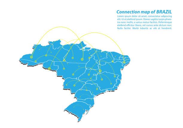 ilustrações, clipart, desenhos animados e ícones de moderna do mapa conexões rede design, melhor conceito de internet. - brazil