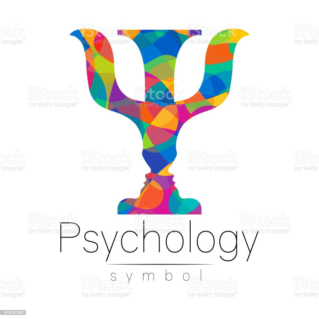 Modern   of Psychology. Psi. Creative style.  type in vector. Design concept. Brand company. Riunbow bright colors letter on white background. Symbol for web, print, card, flyer.