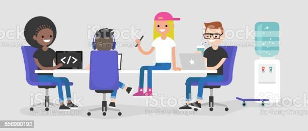 Modern office a team of millennial employees working on their laptops vector id856990192?b=1&k=6&m=856990192&s=612x612&h=4nbwbb gy0tti9jm89pwp 4b9ovnjsrj72yskwbf mw=
