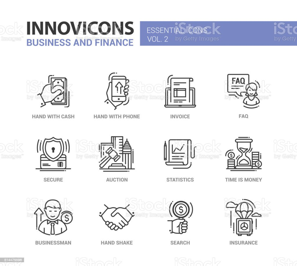 Modern office and business line flat design icons, pictograms set vector art illustration