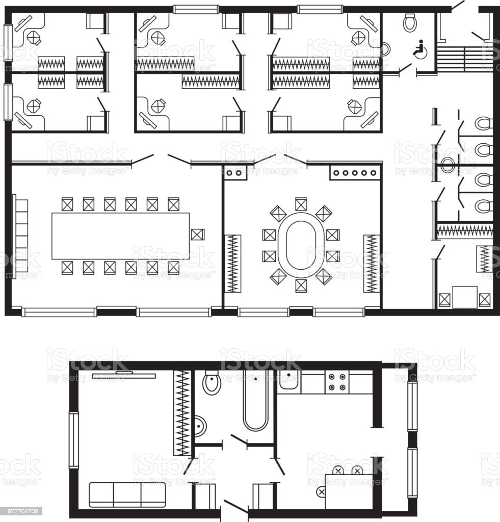 Modern Office Architectural Plan Interior Furniture And Construction Design  Drawing Project Royalty Free Modern Office
