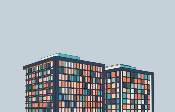 illustrazioni stock, clip art, cartoni animati e icone di tendenza di moderna illustrazione della struttura 3d dell'edificio per uffici - appartamento