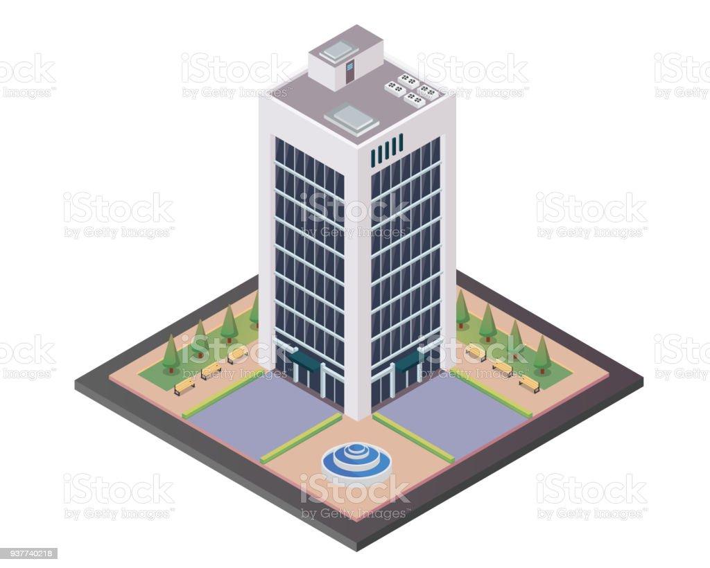 Immeuble de bureaux moderne illustration en vue isométrique