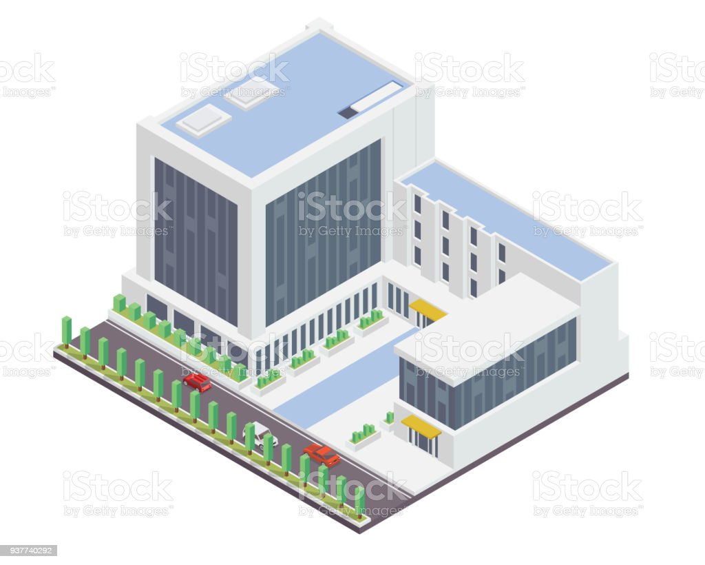 Delicieux Modern Office Building Illustration In Isometric View Royalty Free Modern  Office Building Illustration In Isometric