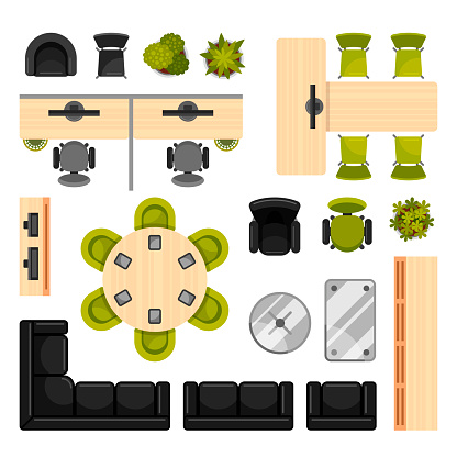 Modern office furniture top view vector illustrations collection