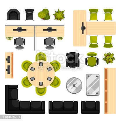 Modern office furniture top view vector illustrations collection. Contemporary workplace interior design elements. Desks with chairs, sofas and computers for working space. Furnishing for office