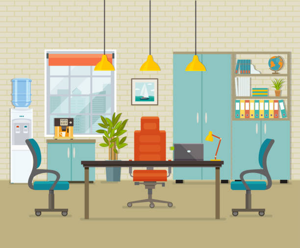 modern office interior. vector flat illustration - office stock illustrations