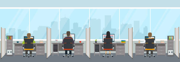 modern office interior with employees. office space with panoramic windows. - office stock illustrations