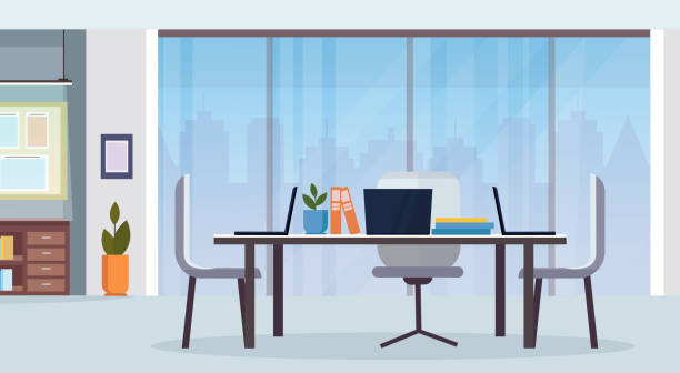 modern office interior workplace desk creative co-working center empty no people workspace flat horizontal - office stock illustrations