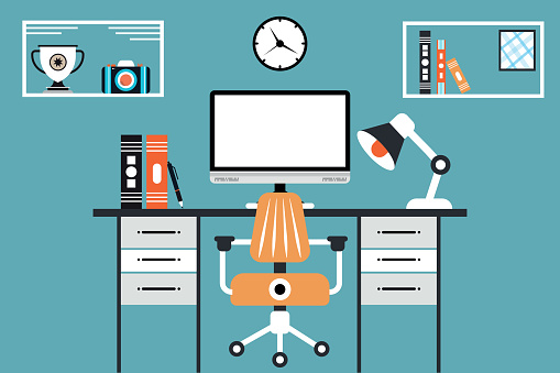 Modern office interior workplace desk creative co-working center empty no people workspace