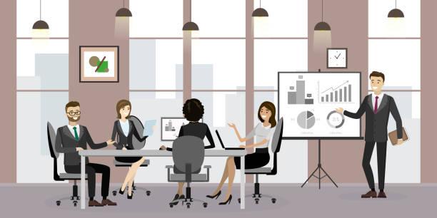 現代のオフィスインテリア、ビジネスミーティングやプレゼンテーション - 会議室点のイラスト素材/クリップアート素材/マンガ素材/アイコン素材