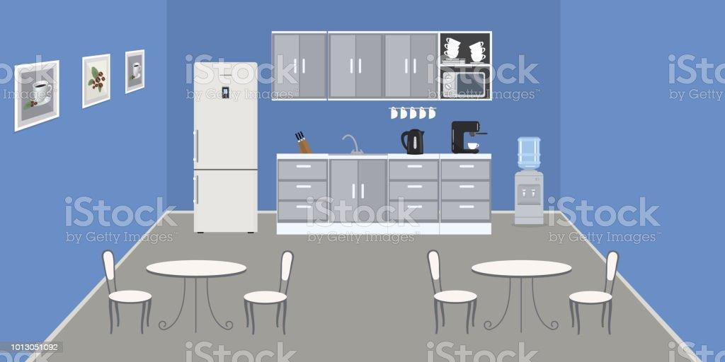 Moderne Burokuche In Eine Blaue Farbe Stock Vektor Art Und Mehr