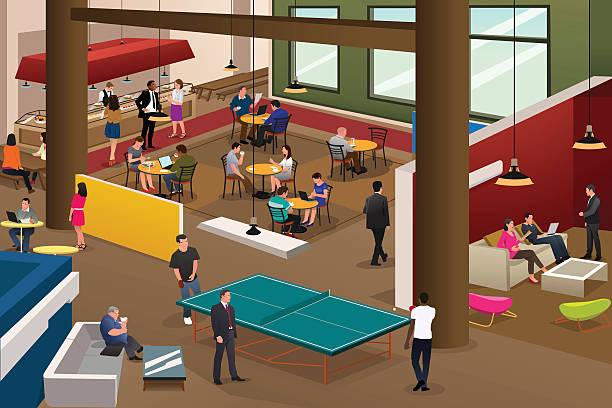 Modern Office Scene A vector illustration of modern office scene ping pong table stock illustrations
