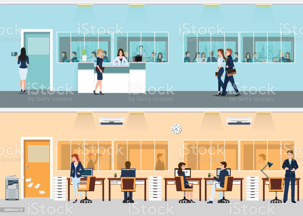 Modern office with desk and office worker. vector art illustration