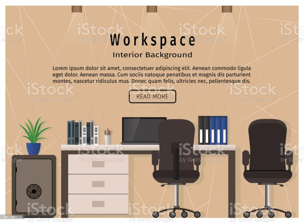 modern office workspace workplace organization concept web design banner royalty free modern