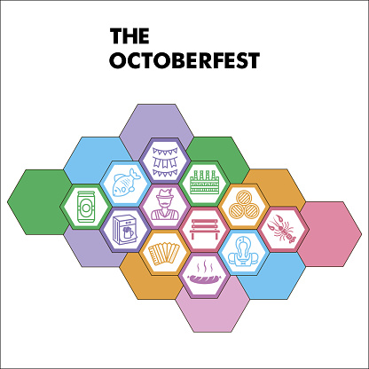 Modern Oktoberfest Infographic design template with icons. Beer festival Infographic visualization on white background. Beer template for presentation. Creative vector illustration for infographic.