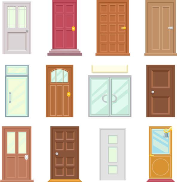 moderne alt türen icons set flach hausentwurf isoliert vektor-illustration - türklopfer stock-grafiken, -clipart, -cartoons und -symbole