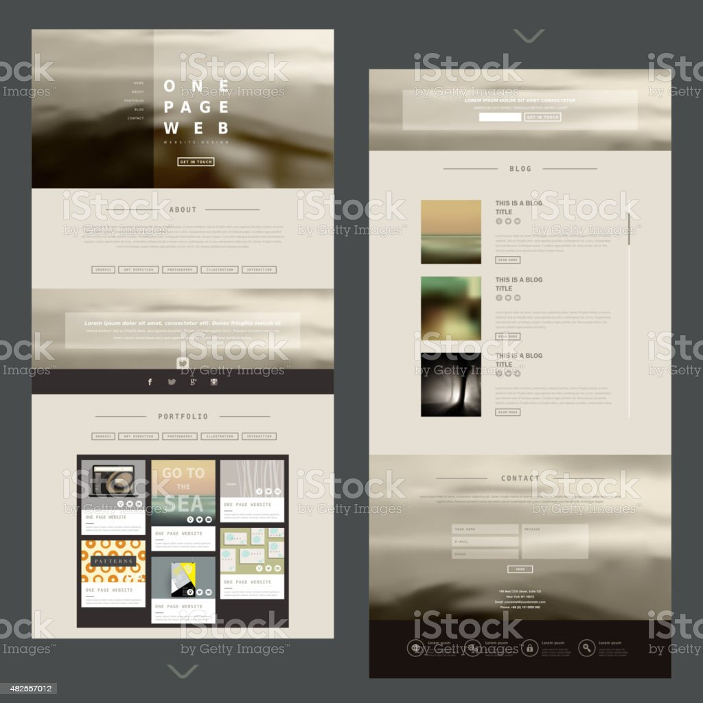 modern one page website design template vector art illustration