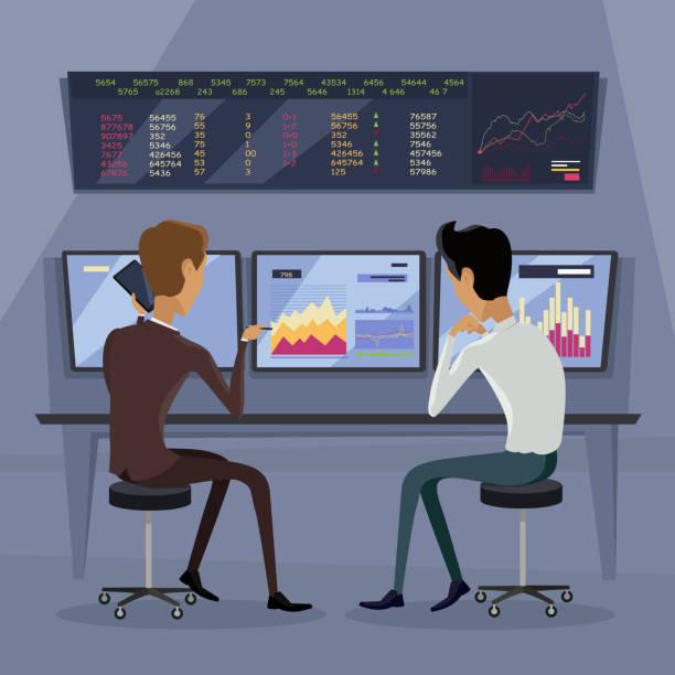 moderne online-handelstechnik illustration. - broker stock-grafiken, -clipart, -cartoons und -symbole
