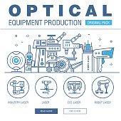 Modern optical development flat industry. Thin line laboratory m