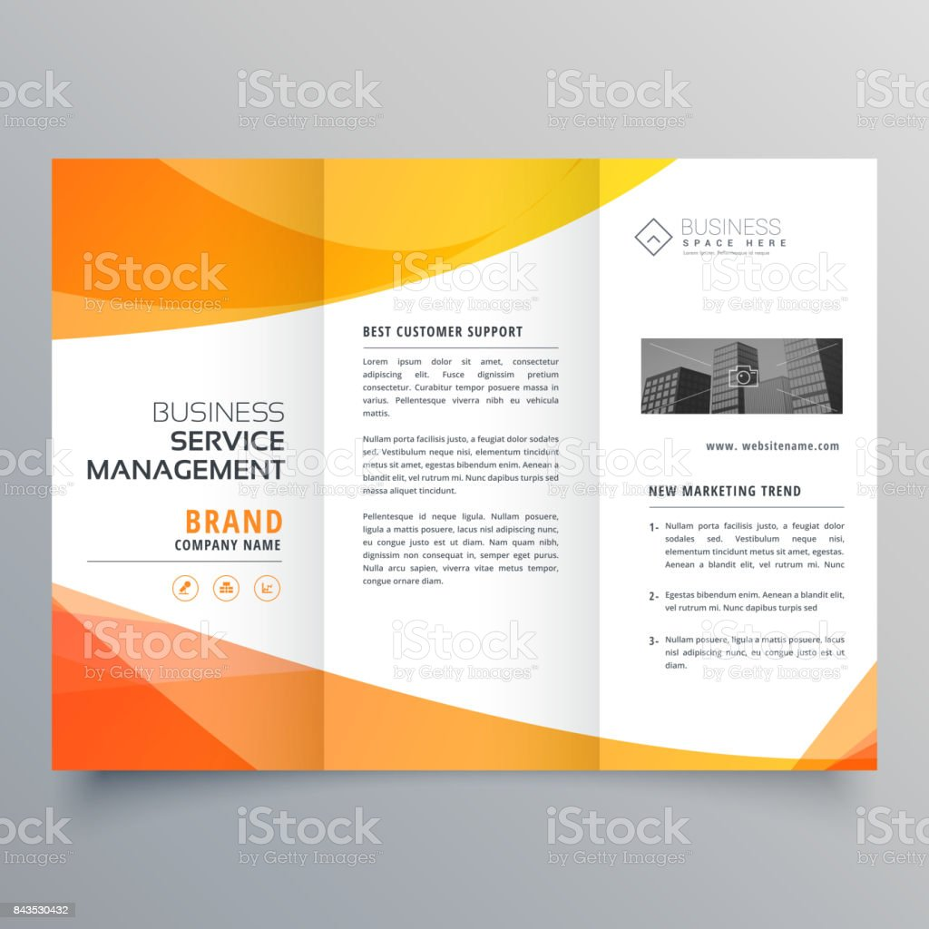 modern orange trifold brochure template in wave style vector art illustration
