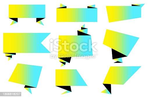 istock Modern origami ribbon. Geometric background. 3d vector. Stock image. EPS 10. 1306818207