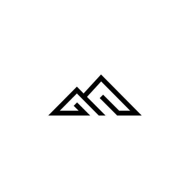Modern Outline Mountain letter B or M image description mountains stock illustrations